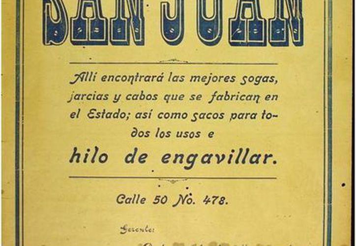 Así se anunciaba la cordelería San Juan en 1932. (Sergio Grosjean/SIPSE)