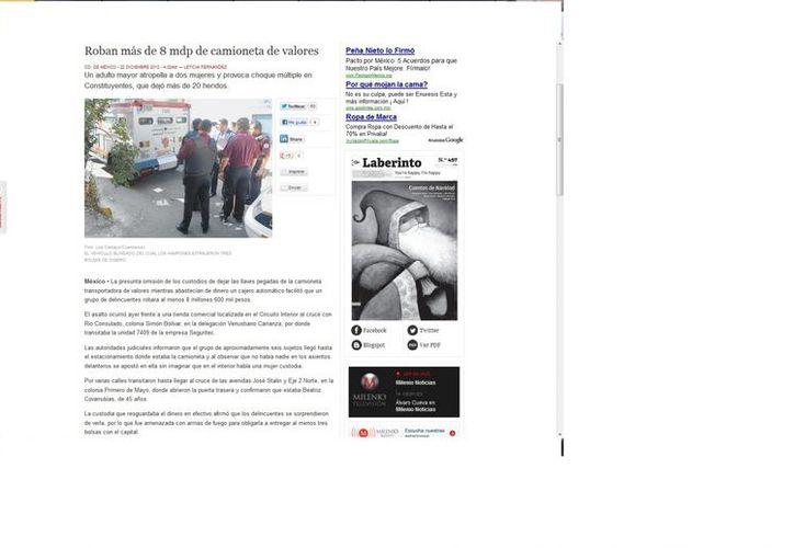 Seis sujetos huyeron con el dinero y dejaron amordazada a una empleada. En la foto el vehículo de valores. (Captura de pantalla de Milenio)