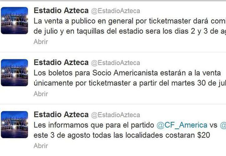 El Estadio Azteca tuiteó la promoción. (@EstadioAzteca)