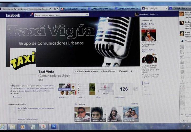 """El espacio de """"Taxi Vigía"""" en Facebook, que cuenta con más de mil 800 amigos, sirve para recibir denuncias de hechos delictivos. (Ernesto Neveu/SIPSE)"""