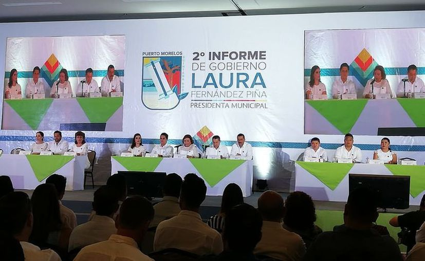 Este día, Laura Fernández Piña rindió su segundo informe de gobierno en Puerto Morelos. (SIPSE)