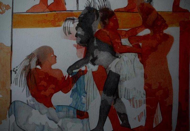 En el mural aparecen varios personajes masculinos, femeninos, niños y ancianos con una banda de jeroglíficos.  (mcd.gob.gt)