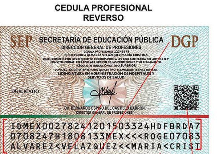 Reverso de la nueva Cédula profesional que expide la Dirección General de Profesiones de la SEP. (www.sep.gob.mx)