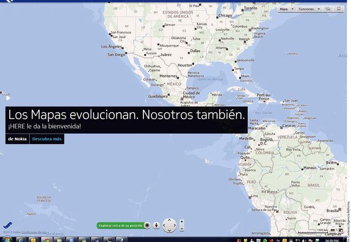 El nuevo servicio de mapas de Nokia ya está disponible en web desde la dirección Here.com. (Agencia Reforma)