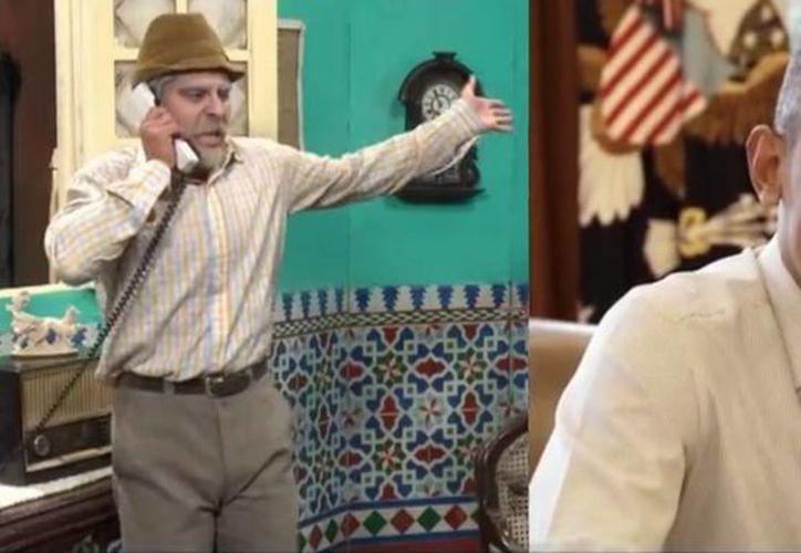 Obama, impecablemente vestido, parece interesado en las recomendaciones de Pánfilo respecto a su visita a Cuba. (Captura de pantalla)