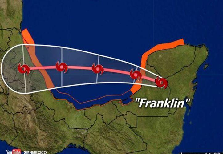 ''Franklin' ha dejado lluvias intensas en Colima, Guerrero, Michoacán, Puebla y Veracruz. (Conagua)