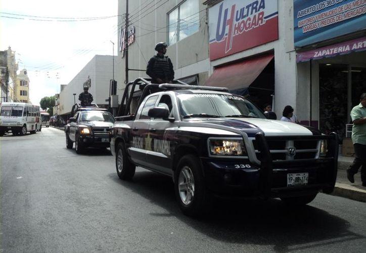 La vigilancia en el centro de la ciudad con motivo de El Buen Fin. (SIPSE)