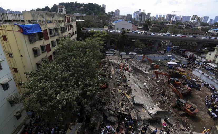 Miembros de la Fuerza de Respuesta ante Desastres Naturales (NDRF) continúan buscando víctimas entre los escombros. (EFE)