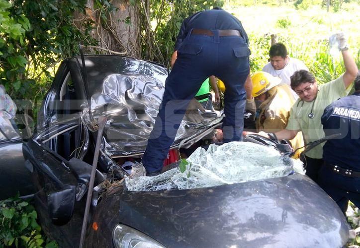 El grave accidente dejó dos menores fallecidas. (SIPSE)