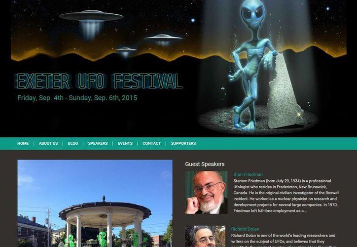 Captura de pantalla del sitio web del Festival del ovni de Exeter, el cual se celebrará este fin de semana. (exeterufofestival.org)