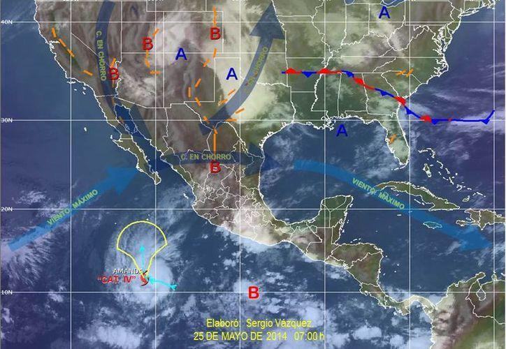 El canal de baja presión es fortalecido por desprendimientos nubosos de la Zona de Convergencia Intertropical y por presencia de aire húmedo del Mar Caribe. (Redacción/SIPSE)