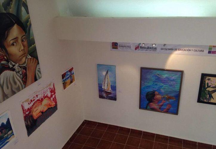Las obras estarán enh exposición desde hoy y hasta el 25 de septiembre en la Casa de la Cultura de Cozumel. (Redacción/SIPSE)