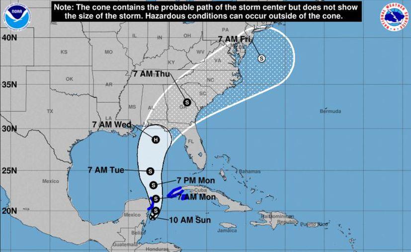 La depresión tropical número 14 se mueve hacia el norte a 6 km/h.  (NHC/NOAA)