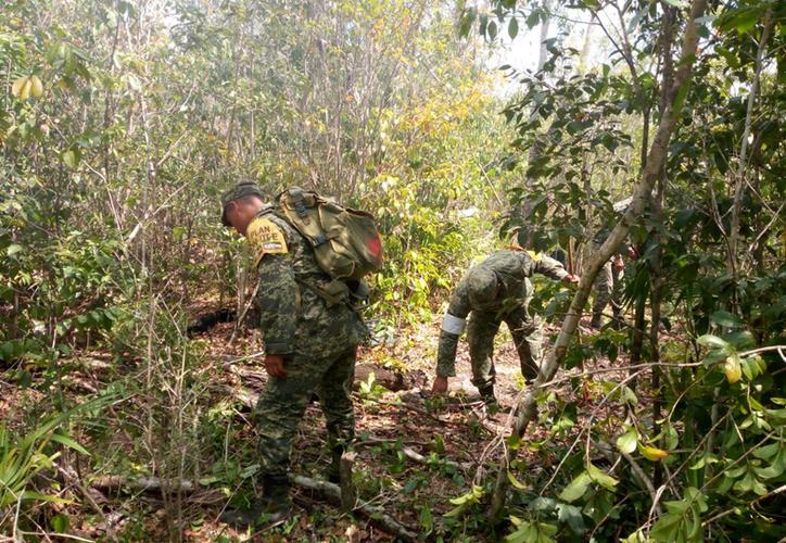 Elementos del Ejército ayudan a apagar el incendio en Lázaro Cárdenas (Redacción/SIPSE)