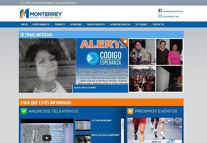Algunas páginas de ayuntamientos incluyen vínculos a redes sociales. (portal.monterrey.gob.mx/)