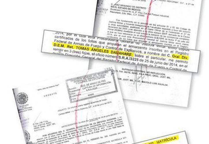 Una serie de documentos avalan la propiedad del general Tomás Ángeles Dauahare sobre las armas por las que fue inculpado el abogado Ortega Maya. (Milenio)
