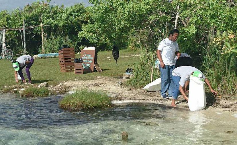 Un centenar de personas realizaron la limpieza del Área Natural Protegida Bacalar. (Javier Ortíz/SIPSE)
