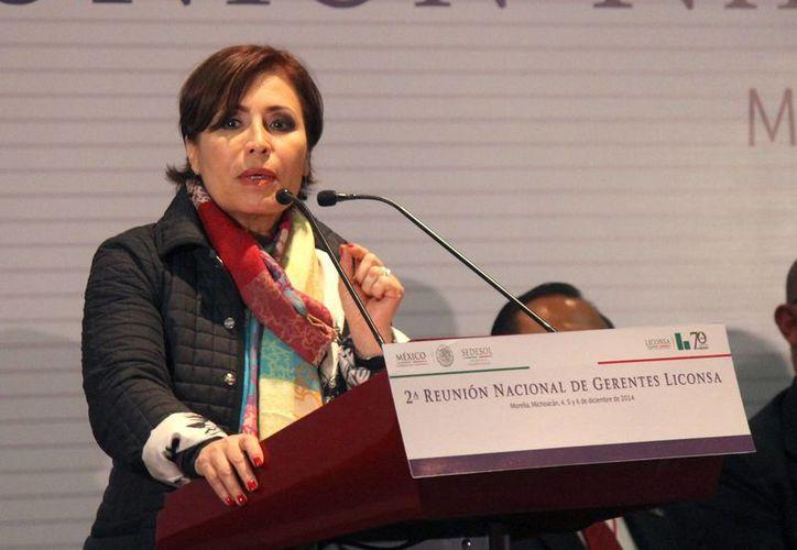 La secretaria de Desarrollo Social, Rosario Robles, participó en el seminario El Empoderamiento de la Mujer para la Transformación de México organizado por la Fundación Colosio y el Organismo de Mujeres Priistas. (Notimex)