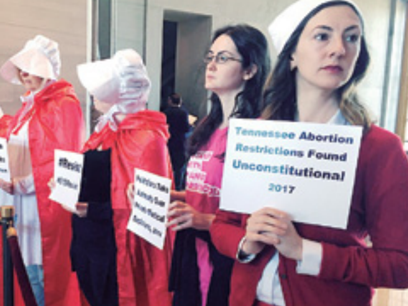 Protesters organized by Planned Parenthood demonstrate at the state Capitol in Nashville, Tenn., to express their opposition to abortion legislation.