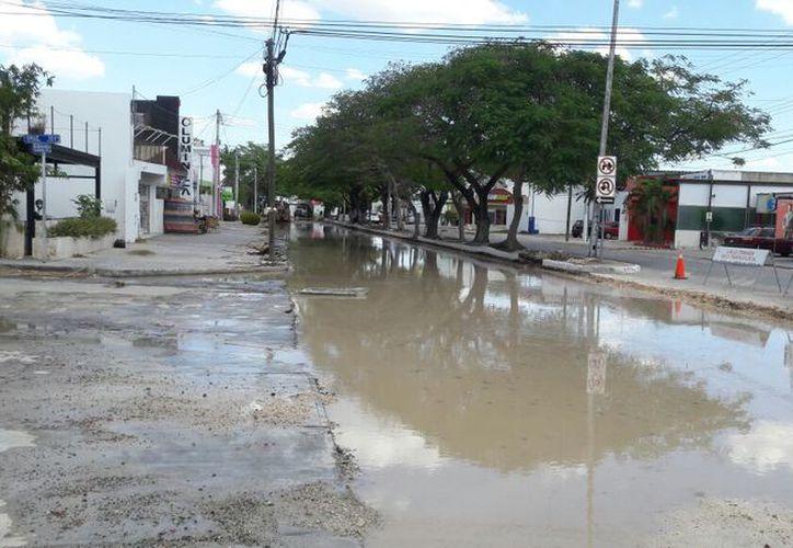Una fuga de agua interrumpió durante varias horas las obras que realiza el Ayuntamiento de Mérida, en la Av. José Díaz Bolio, por calles 10 y 12, en el norte de la ciudad. (Martiniano Alcocer/SIPSE)