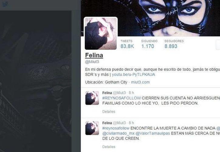 Así apareció este jueves la página de Twitter de 'Felina', pero todavía no se sabe si realmente está muerta. (Captura de pantalla de Twitter)