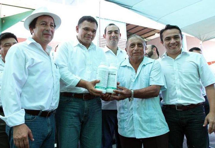 """En Akil, el gobernador Rolando Zapata entregó apoyos de Procampo Productivo e inició la fumigación contra el """"dragón amarillo"""" que afecta a los cítiricos. (Cortesía)"""