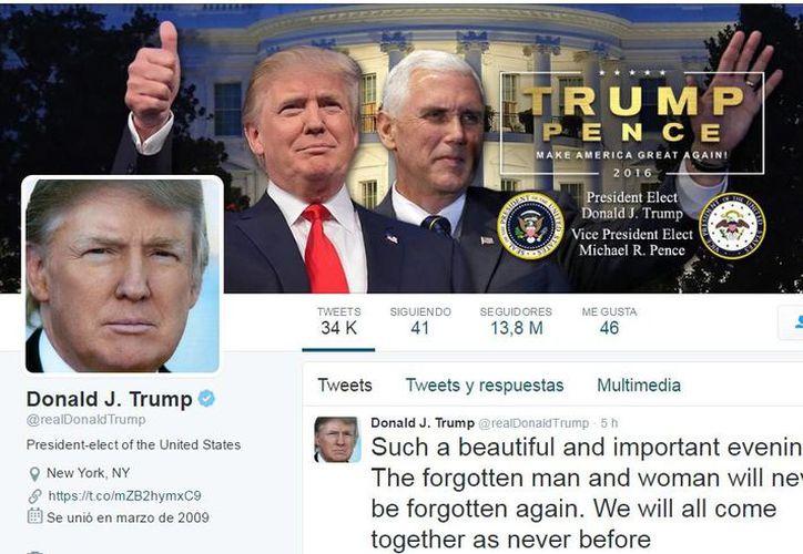 Con 13.8 millones de seguidores, junto a la foto y su nombre, Donald J. Trump, aparece ahora en su perfil de Twitter el cargo de 'presidente electo de Estados Unidos'. (Twitter)