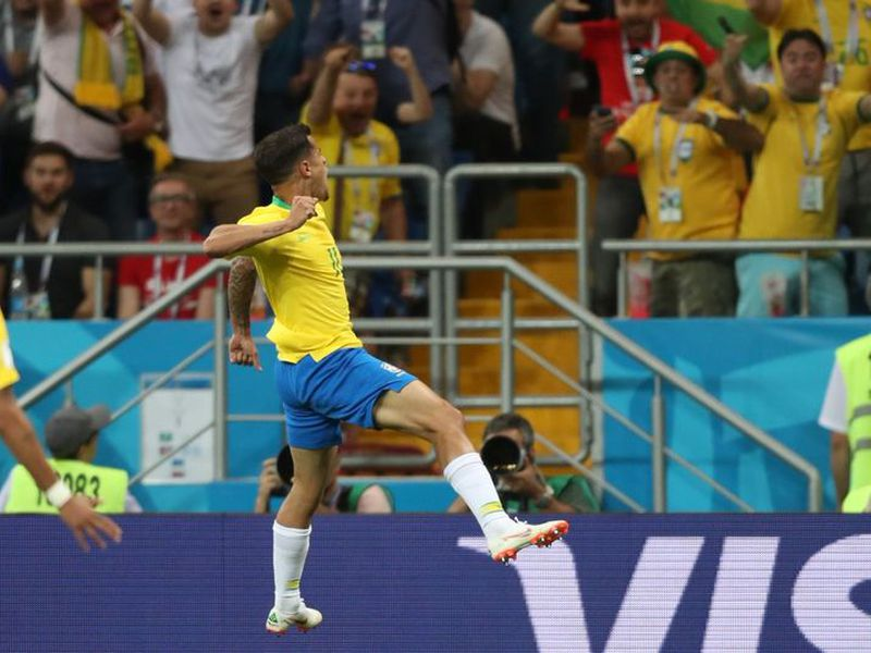 Philippe Coutinho abrió el marcador en el primer tiempo para Brasil, que vence a Suiza en Rusia 2018 (Foto archivo: mykhel.com)