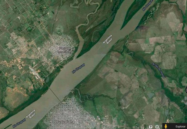 Imagen de Google Maps que muestra la ubicación de Paso de los Libres, en Argentina, donde se realizó la incautación de marihuana.