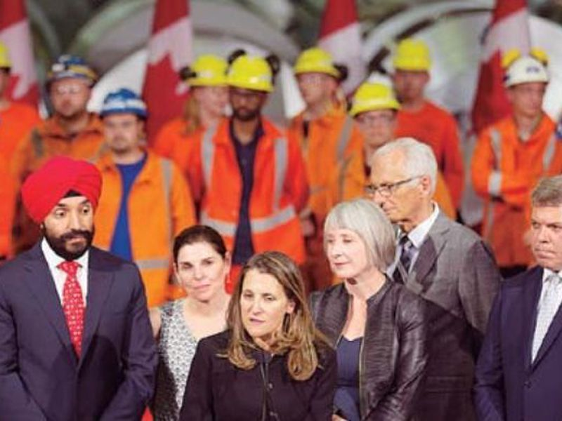 Chrystia Freeland, Canada's Minister of Foreign Affairs, speaks during her visit to Stelco in Hamilton, Ontario. (AP)
