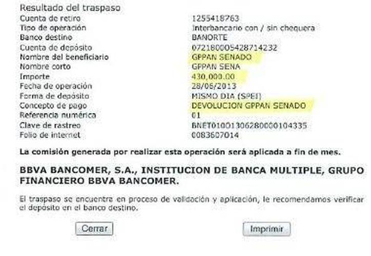 Ficha de la transferencia que realizó el senador Daniel Ávila Ruiz. (milenio.com)