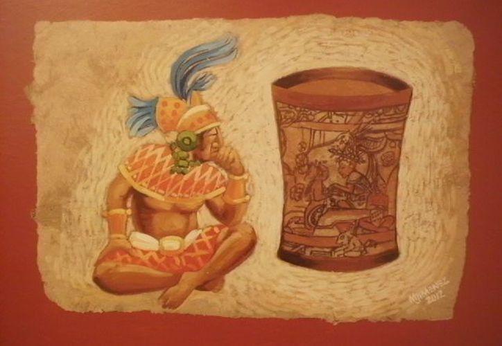 En la obra de Marcelo Jimenéz Santo se resaltan detalles de la cultura maya y sus travesías. (Jorge Carrillo/SIPSE)