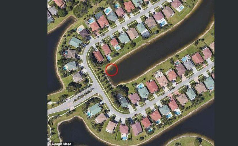 Usando un dron confirmó que había un carro blanco en el borde del estanque. (Google Earth)
