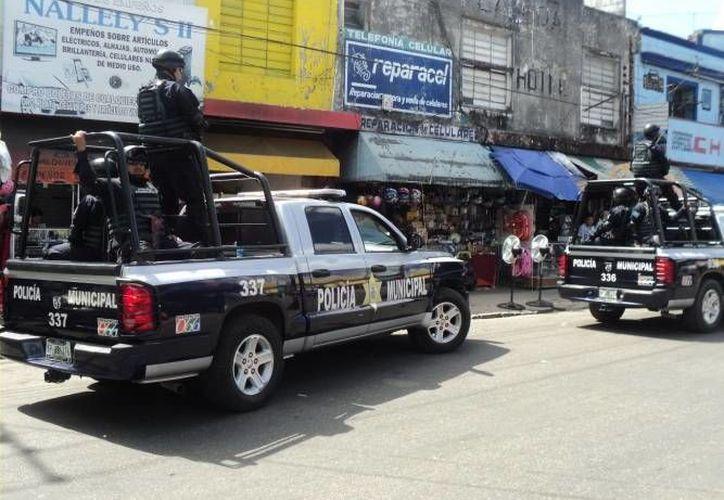 Policías realizan rondines de vigilancia en la capital del estado. (SIPSE)