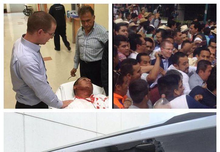 El presidente nacional del PAN, Ricardo Anaya, compartió en sus redes sociales imágenes de la agresión de la que fueron víctimas en Veracruz. (Twitter.com/@RicardoAnayaC)