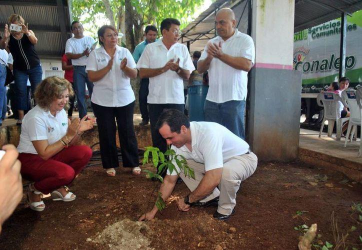 Durante el programa 'Conalep en tu comunidad' autoridades sembraron un árbol simbólico. (Milenio Novedades)