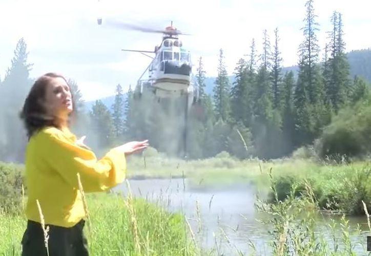 La periodista reportaba el combate de un grupo de helicópteros contra un incendio. (Foto: YouTube)