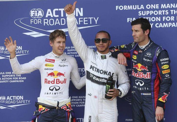 Vettel, Hamilton y Webber tras la sesión clasificatoria al Gran Premio de Alemania. (Agencias)