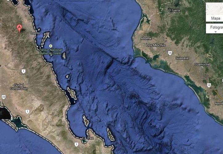 La avioneta debía haber llegado a las 09:30 horas a Ciudad Constitución, media hora después de salir de Loreto. (googlemaps.com)