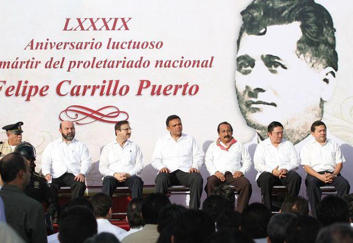 Conmemoración del 89 aniversario luctuoso de Felipe Carrillo Puerto. (Cortesía)