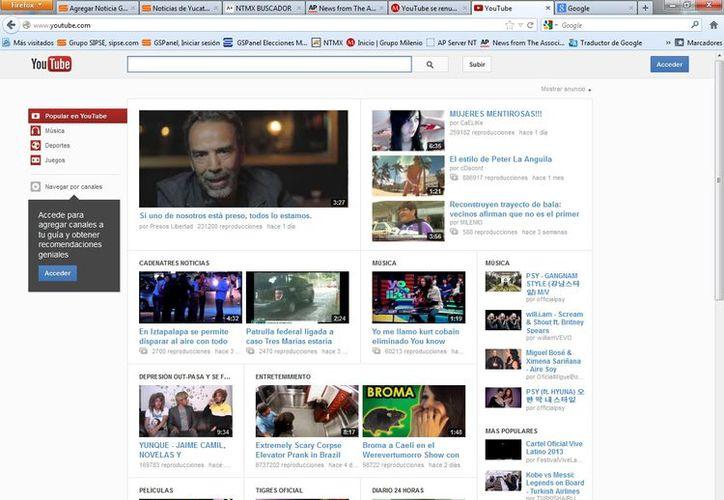 Youtube cuenta con unos 800 millones de usuarios. (Captura de pantalla de Milenio)