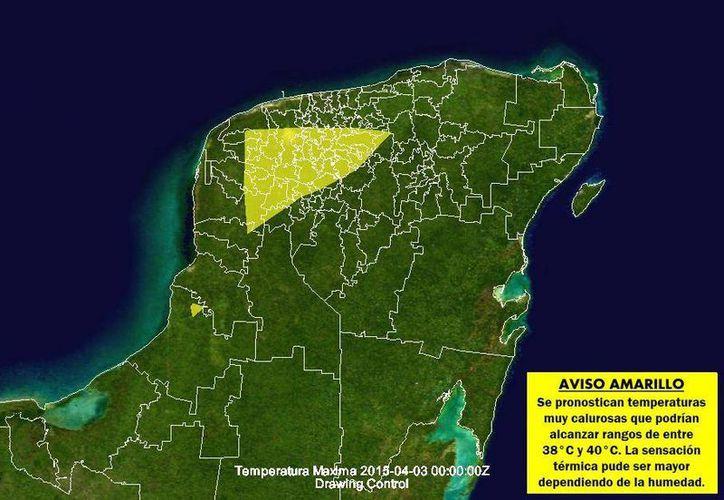 Las zonas en amarillo representan los lugares donde se podrían registrar temperaturas muy calurosas. (SIPSE)