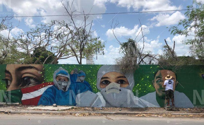 El mural se ubica en la colonia Emiliano Zapata Oriente. (Cristian Cuxin/Novedades Yucatán)