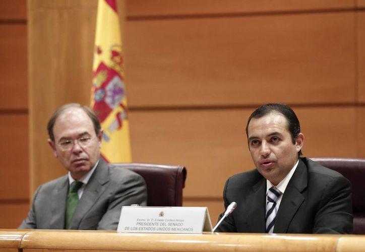 Reunión Interparlamentaria México-España, realizada en el Senado español y que encabezaron sus presidentes Pío García Escudero de España y Ernesto Cordero Arroyo de México. (Notimex)