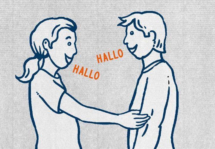 """Imagen de la guía Germans be like"""" (así son los alemanes) que enseña la manera en que se saludan los alemanes. Hasta el momento este texto ha sido visto por más de 1.1 millones de personaes desde octubre. (AP)"""