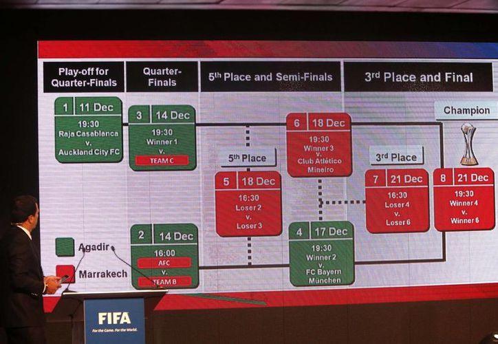 El sorteo coloca de entrada en semifinales al Bayern Munich de Alemania y al Atlético Mineiro de Brasil, campeones de la UEFA y de la Conmebol. (Agencias)