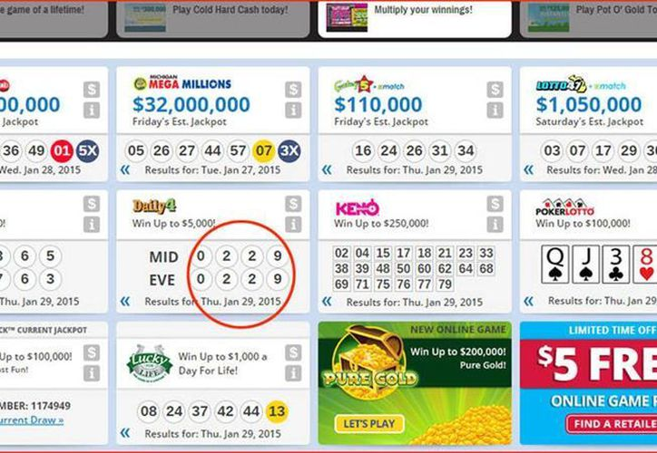 El número 0229, del sorteo Daily 4, se repitió en la mañana y la tarde del jueves. (Captura de pantalla de Michigan Lottery)
