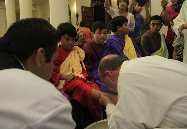 Las representación de la Última Cena se llevó a cabo en iglesias de Chetumal. (Harold Alcocer/SIPSE)