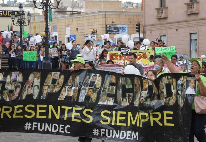 Los colectivos Fuerzas Unidas por Nuestros Desaparecidos en Coahuila y Fuerzas Unidas por Nuestros Desparecidos en México, se unieron este jueves en una marcha pacífica. (Vanguardia MX)