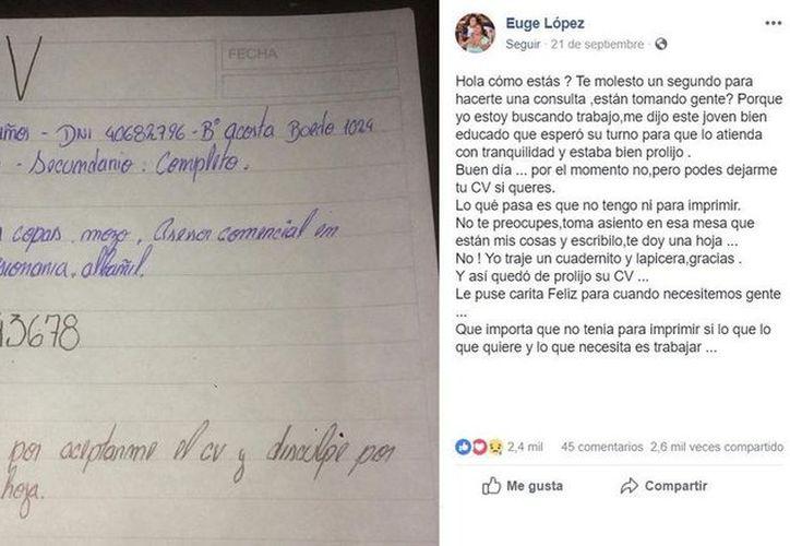 El joven pidió apoyo para escribir sus datos a una tendera de Argentina. (vanguardia.com)